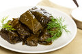 Stuffed grape leaves dolma or azerbaijan turkish and greek cuisine Royalty Free Stock Photo