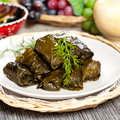 Stuffed grape leaves dolma or azerbaijan turkish and greek cuisine Stock Photos