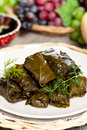 Stuffed grape leaves dolma or azerbaijan turkish and greek cuisine Royalty Free Stock Image