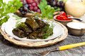 Stuffed grape leaves dolma or azerbaijan turkish and greek cuisine Stock Image