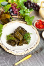 Stuffed grape leaves dolma or azerbaijan turkish and greek cuisine Stock Images