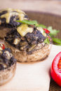 Stuffed mushrooms with eggs, cheese and paprika Royalty Free Stock Photo