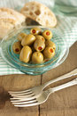 Stuffed olives with pimento with slective focus on front olive Stock Images