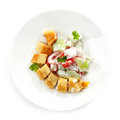 Stuffed pancake and vegetable salad food for children Royalty Free Stock Photos
