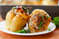 Stuffed peppers with meat and rice with roasted pepper sauce Stock Photo