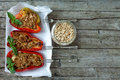 Stuffed Peppers And Pine Seeds Royalty Free Stock Photo