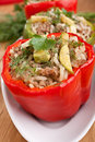 Stuffed peppers on a plate Royalty Free Stock Image