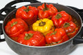 Stuffed peppers red and yellow Royalty Free Stock Photo