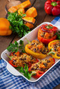 Stuffed peppers with rice, beans and pumpkin Royalty Free Stock Photo