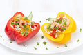 Stuffed peppers with salad of rice and shrimp on the white plate horizontal Stock Photos