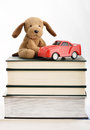 Stuffed puppy toy car top books Royalty Free Stock Images