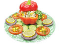 Stuffed red pepper with vegetables Stock Images