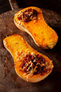 Stuffed roasted butternut squash Royalty Free Stock Photo