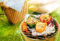 Stuffed savory sweet peppers grilling on foil over a hot fire in a portable barbecue during a summer picnic with a wicker hamper Stock Photos