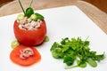 Stuffed tomato with shrimps and avocado fresh filled belgian prawns mayonnaise parsley shallot cream fesh s cream sushi vinegar Royalty Free Stock Images