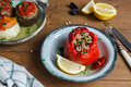 Stuffed tomatoes and peppers, a traditional plate in Greece Royalty Free Stock Photo