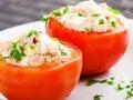 Stuffed tomatos with tuna fish Stock Images