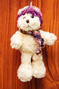 Stuffed vintage toy dog with woods background Stock Image