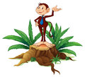 A stump with an adult monkey illustration of on white background Royalty Free Stock Photos