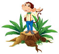 A stump with a male monkey illustration of on white background Stock Photography