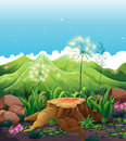 A stump near the mountains illustration of Royalty Free Stock Photography