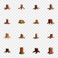Stump tree icon set, cartoon style