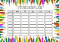 Class schedule surrounded by colored pencils template Royalty Free Stock Photo