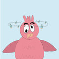 Stunned bird a pink with big eyes in a blue background Royalty Free Stock Photography