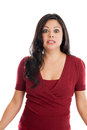 Stunned Hispanic woman isolated on a white background Stock Photos