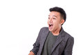 Stunned surprised man s emotion expression looking away Royalty Free Stock Photography