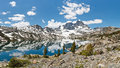 Stunning alpine lake scenery banner peak towering above garnet in the ansel adams wilderness sierra nevada california usa Royalty Free Stock Image