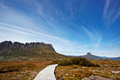 The stunning cradle mountain and barnes bluff boardwalk on route through Royalty Free Stock Image