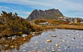 Stunning cradle mountain tasmania australia with tarn in foreground Royalty Free Stock Photos