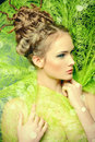 Stunning fashion shot of a female model with beautiful hairstyle spring beauty Royalty Free Stock Photos