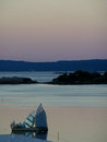 Stunning gradation of pastel color sky before sunrise over the Oslo Fjord Royalty Free Stock Photo