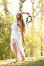 Stunning hippie bride flowers outdoors Royalty Free Stock Photo