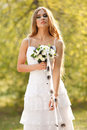 Stunning hippie bride flowers outdoors spring Royalty Free Stock Photo
