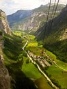 Stunning Lauterbrunnen valley rural view, bird eye view from cable car from Stechelberg to Murren Station, Lauterbrunnen, Bern Royalty Free Stock Photo