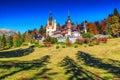 Stunning ornamental garden and royal castle peles sinaia transylvania romania europe beautiful famous with majestic autumn colors Stock Image