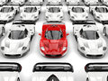 Stunning red modern concept sports car stands out in a sea of white sports cars