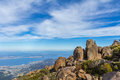 Stunning summit of Mount Wellington overlooking Hobart and the south coast Royalty Free Stock Photo
