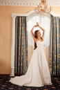 Stunning young bride in luxury interior Royalty Free Stock Image