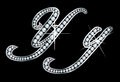 Stunningly beautiful script y y set diamonds silver Stock Images