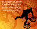 Stunt bicyclist on the abstract background Stock Photo