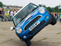 Stunt car driver Russ Swift entertains the crowds Royalty Free Stock Photo