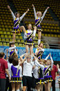 Stunt performed by cheerleaders team moscow mar at championship and contests of moscow in cheerleading at palace of sports dynamo Royalty Free Stock Image