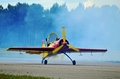 Stunt plane on airfield pilot open canopy Stock Photography