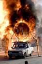 Stuntman Igor Zverev jumping through tube of fire Royalty Free Stock Photos