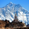 Stupa near Namche Bazar and Mount Lhotse south rock face Royalty Free Stock Photo