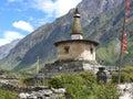 Stupa near nile village buddhist building manaslu and tsum valley trekking Stock Photography